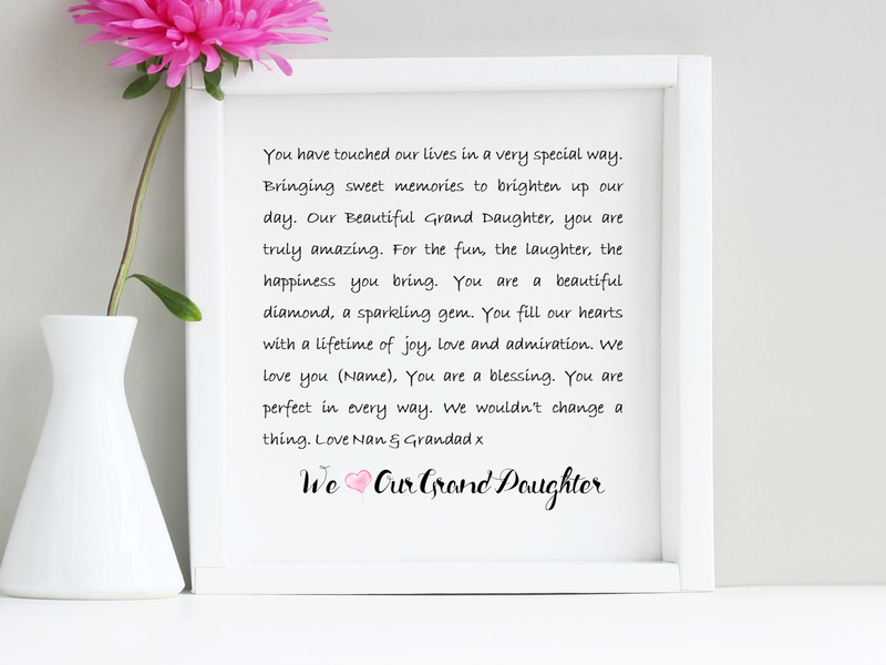 Grand Daughter Box Framed Poem - PureEssenceGreetings