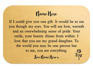 Personalised Grand Daughter Keepsake Wallet Card - PureEssenceGreetings