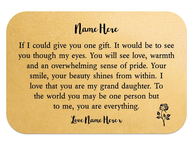 Personalised Grand Daughter Keepsake Wallet Card