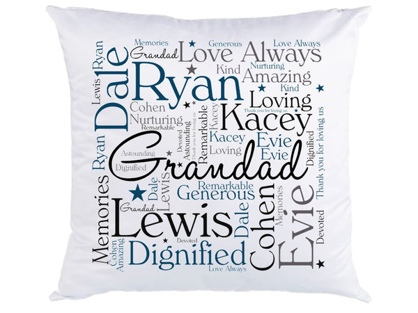 Personalised Grandad Word Art Cushion - PureEssenceGreetings