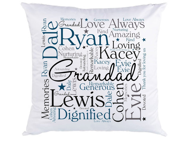 Personalised Grandad Word Art Cushion