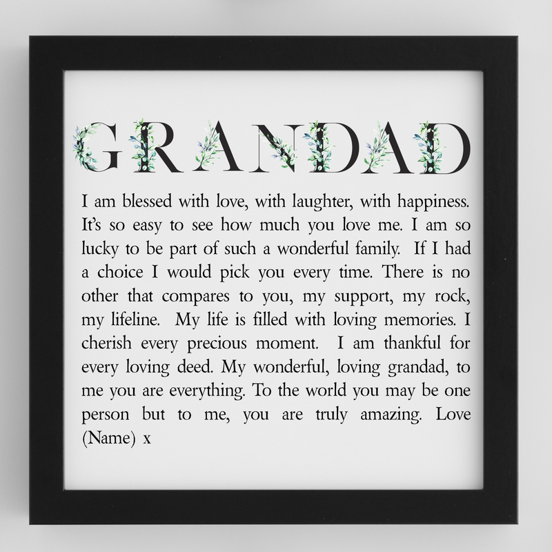 Grandad Personalised Framed Poem - PureEssenceGreetings