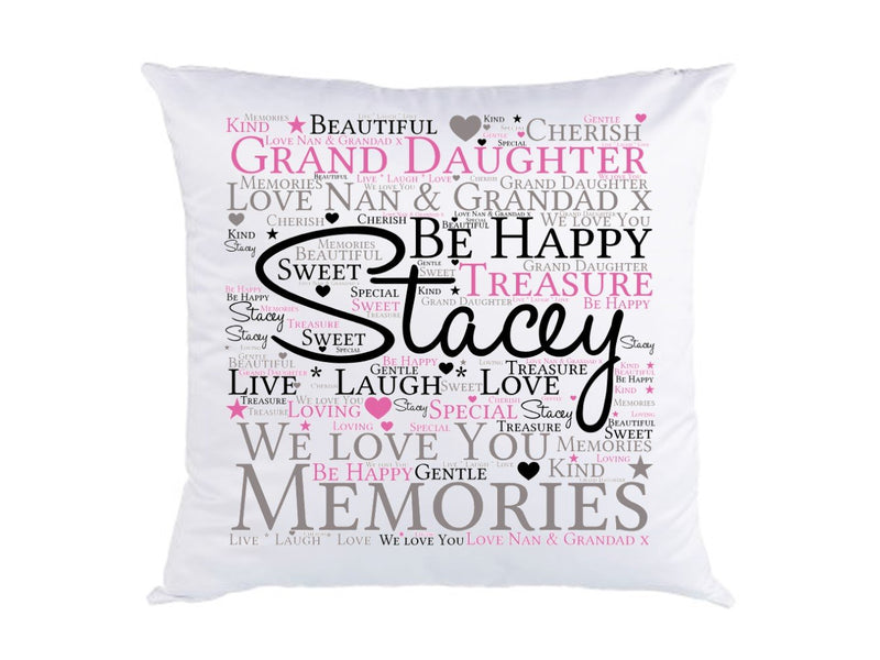 Personalised Grand Daughter Word Art Cushion.
