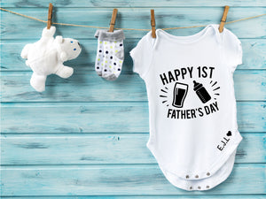 Happy 1st Father's Day Personalised Babygrow - PureEssenceGreetings