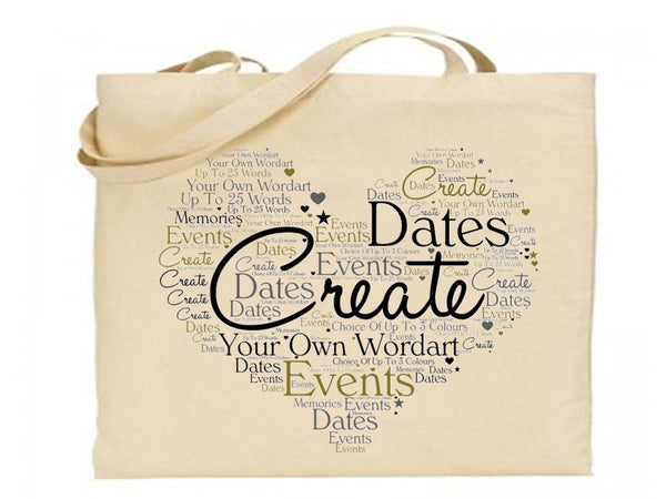 Personalised Word Art Tote Bag | Own Text - PureEssenceGreetings