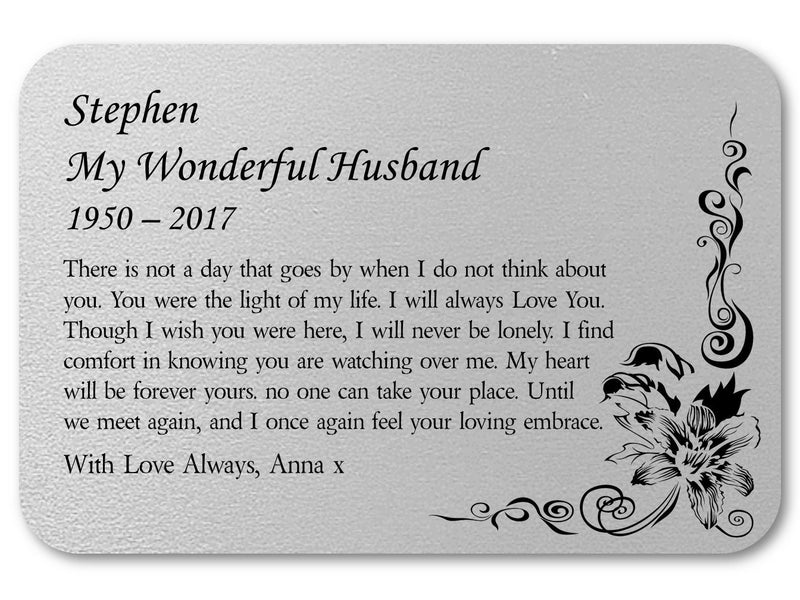 Husband Memorial Personalised Wallet Card