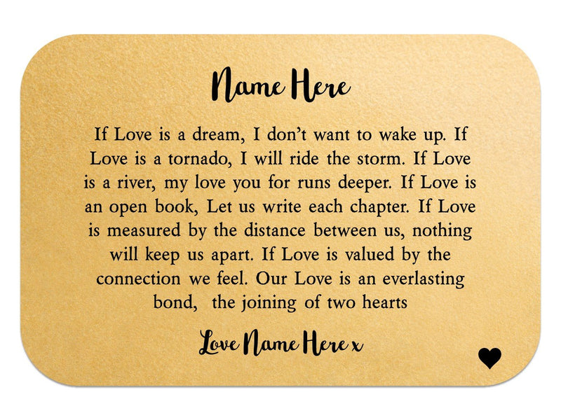 If Love Is Personalised Wallet Card - PureEssenceGreetings
