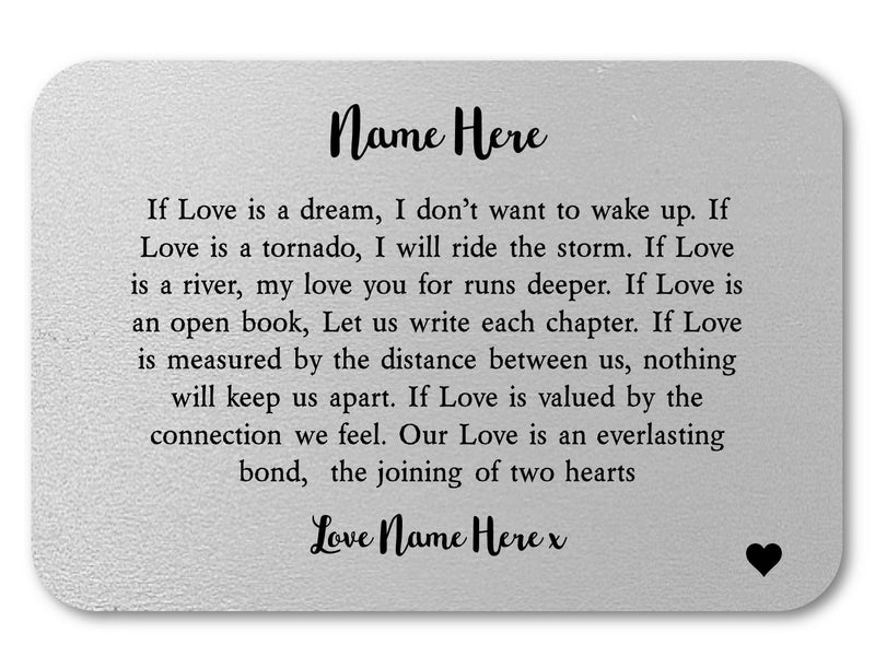 If Love Is Personalised Love Wallet Card