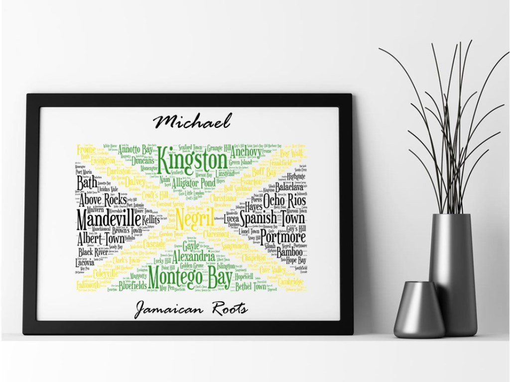 Jamaican Flag Personalised Framed Word Art Print Pureessencegreetings