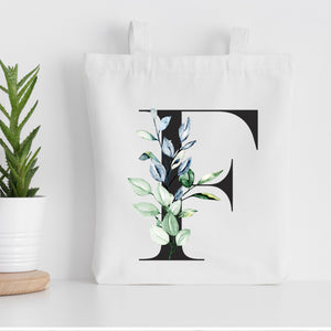 Personalised Initial Tote Shopping Bag | Floral Design