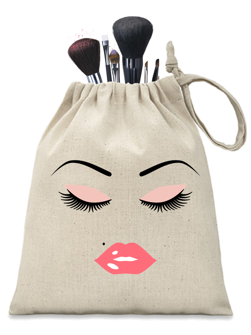 Pink Lashes and Lips Personalised Make-up Pouch - PureEssenceGreetings