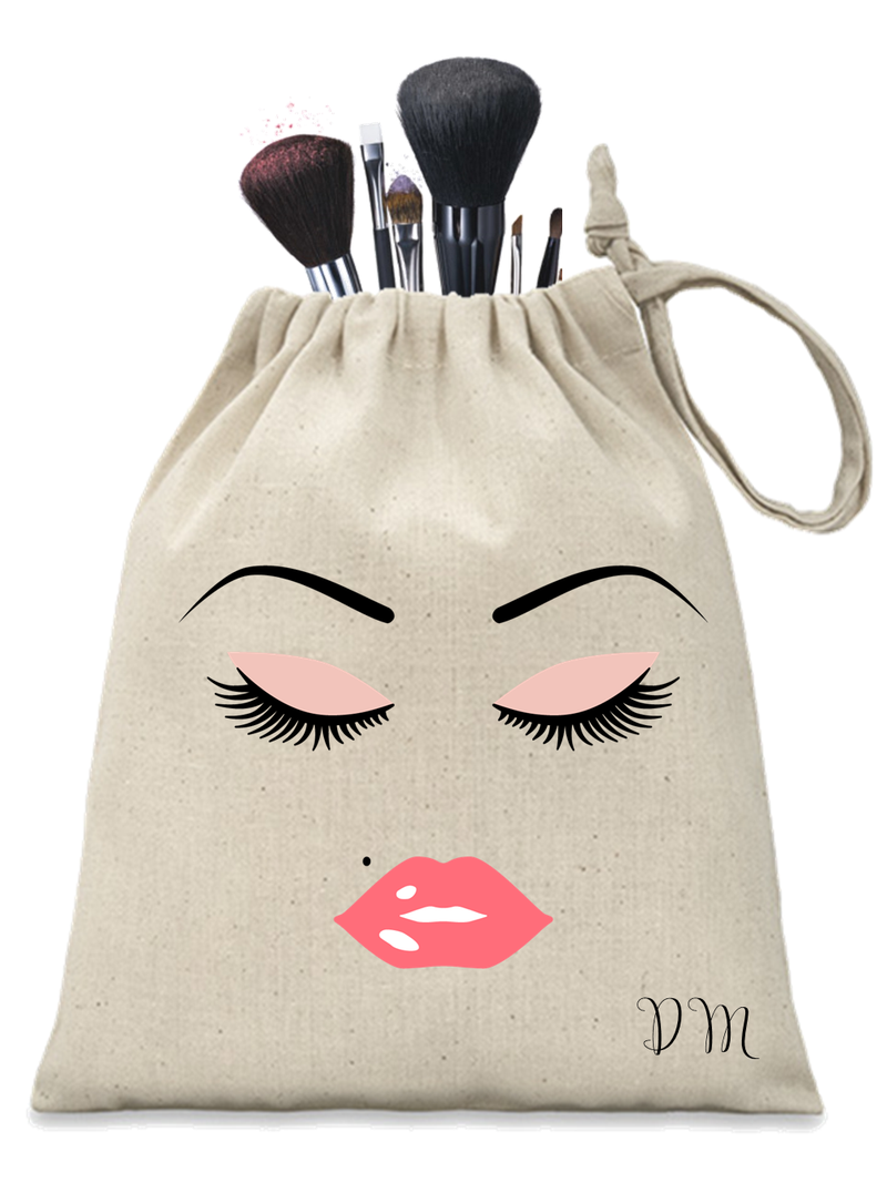 Pink Lashes and Lips Personalised Make-up Pouch