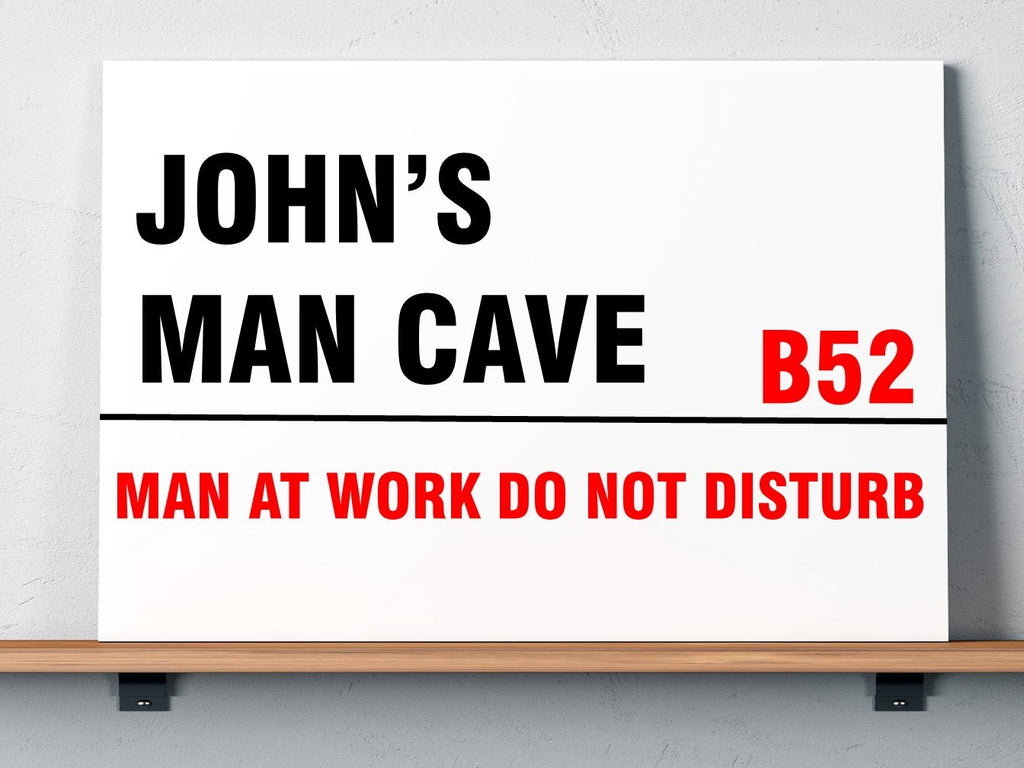 Man Cave Street Sign Design Personalised Plaque - PureEssenceGreetings
