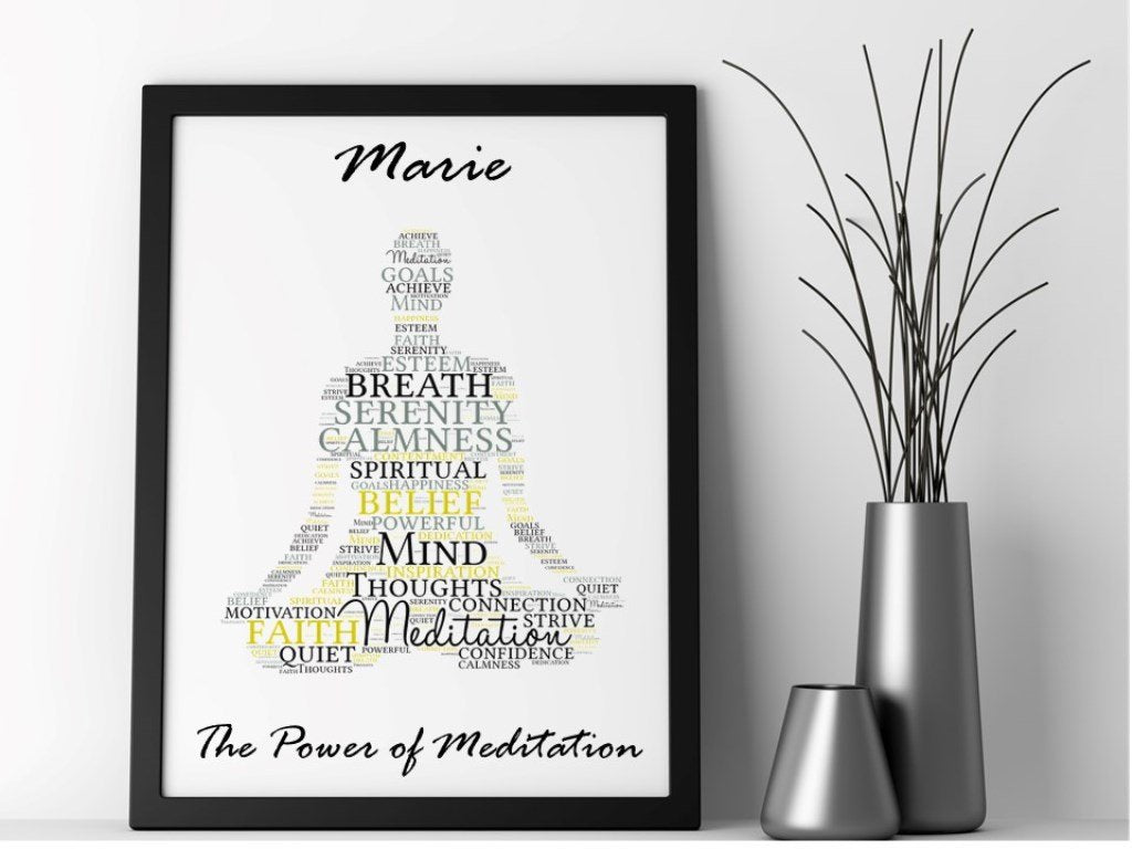 Meditation Personalised Framed Word Art - PureEssenceGreetings
