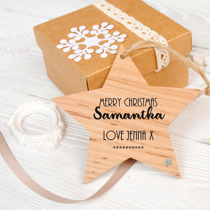 Personalised Christmas Hanging Star - PureEssenceGreetings