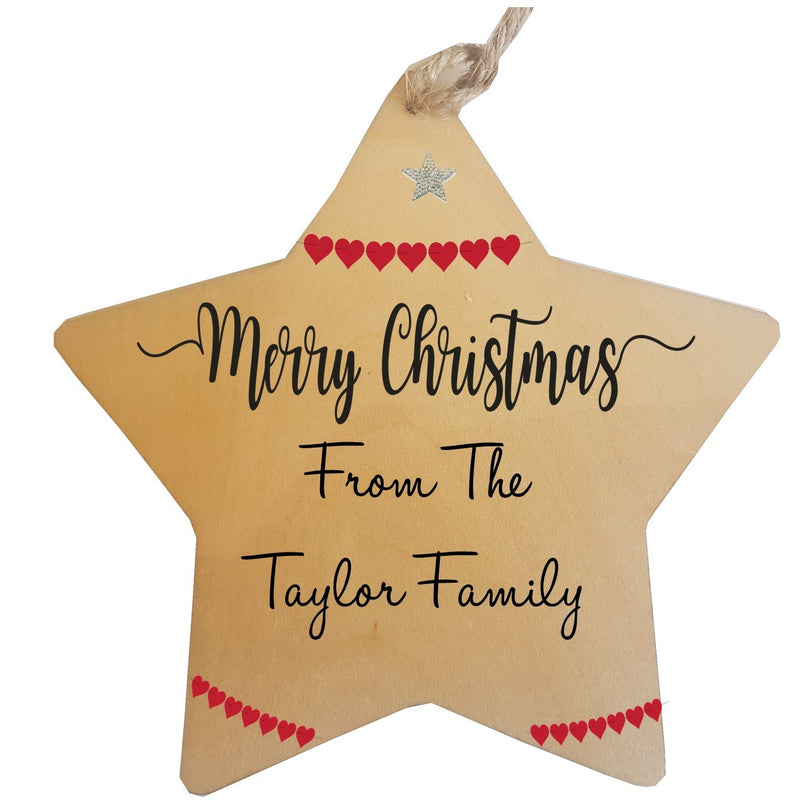 Merry Christmas Personalised Star Decorations