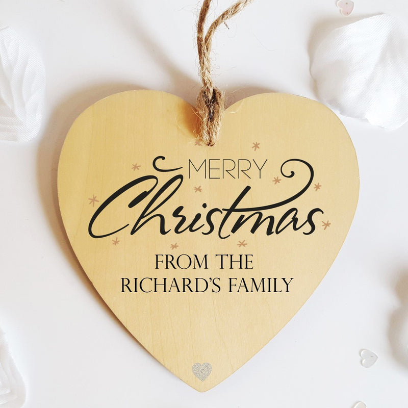 Merry Christmas Personalised Heart Decorations - PureEssenceGreetings