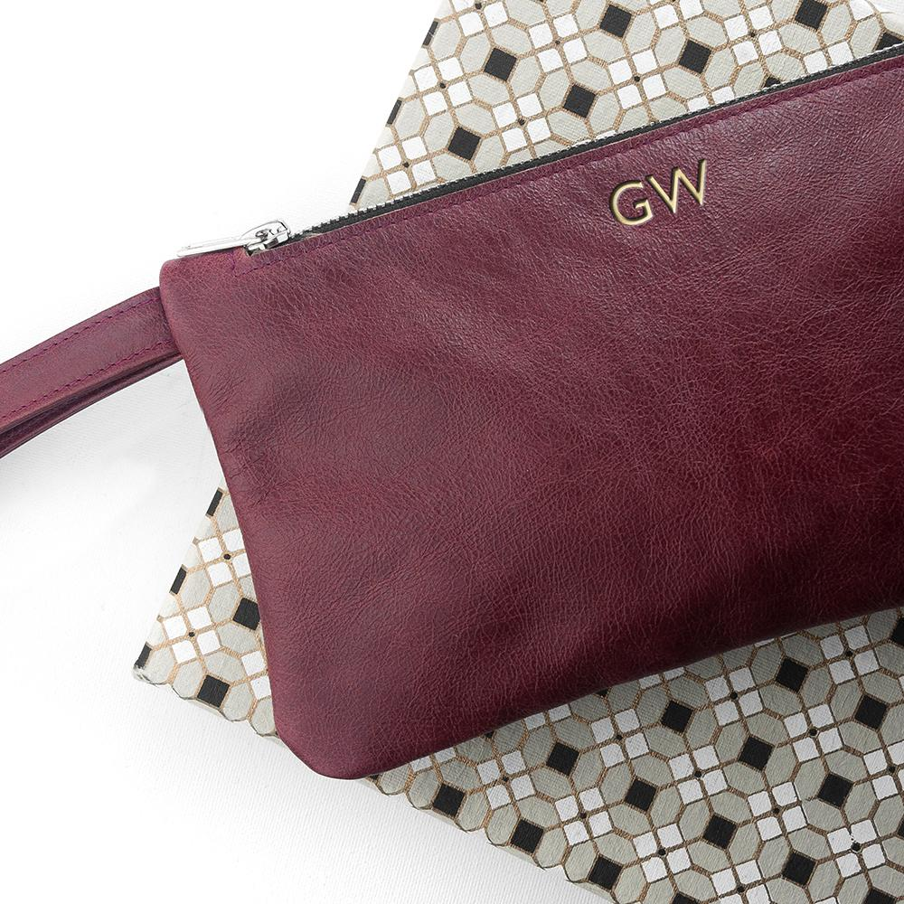 MONOGRAMMED BURGUNDY LEATHER CLUTCH BAG - PureEssenceGreetings