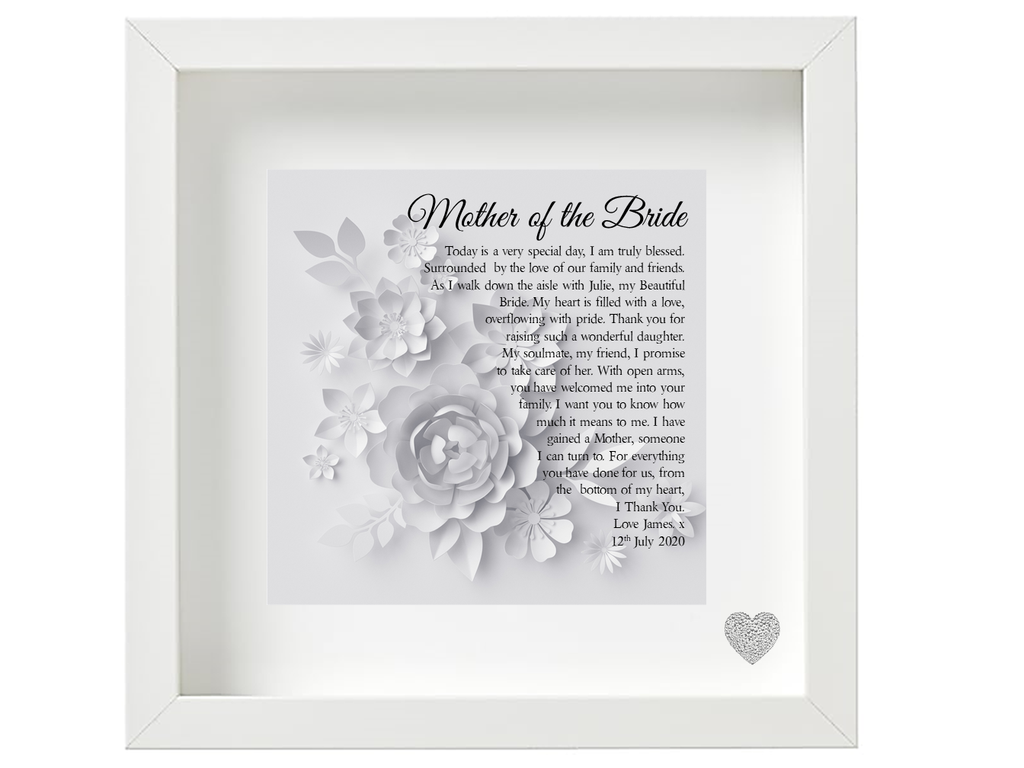 Mother of The Bride Poem Personalised Framed Poem from the Groom - PureEssenceGreetings