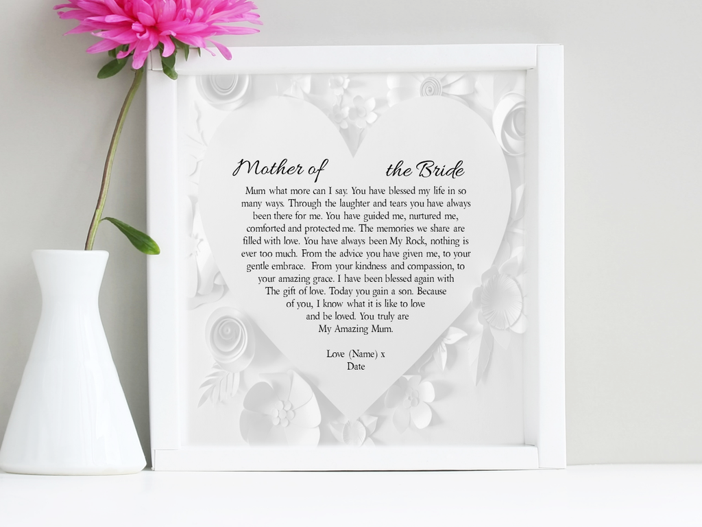 Mother of the Bride Personalised Box Framed Poem - PureEssenceGreetings
