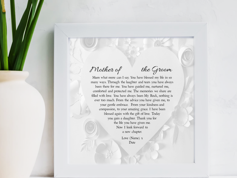 Mother of the Groom Personalised Box Framed Poem - PureEssenceGreetings