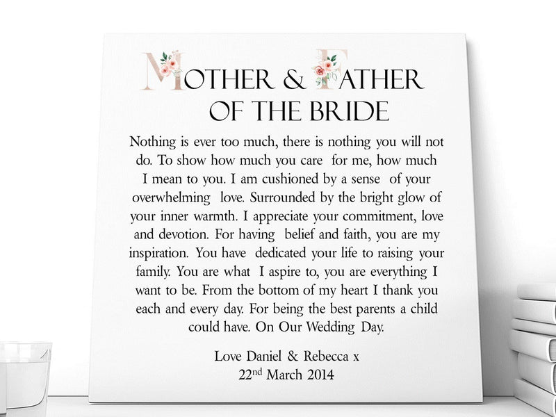 Mother & Father of The Bride * Groom Poem | Personalised Ceramic Plaque.