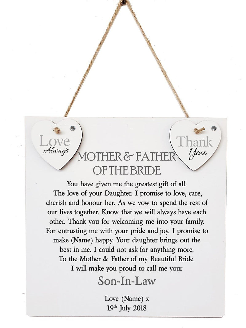 Mother & Father of The Bride Personalised Plaque - PureEssenceGreetings