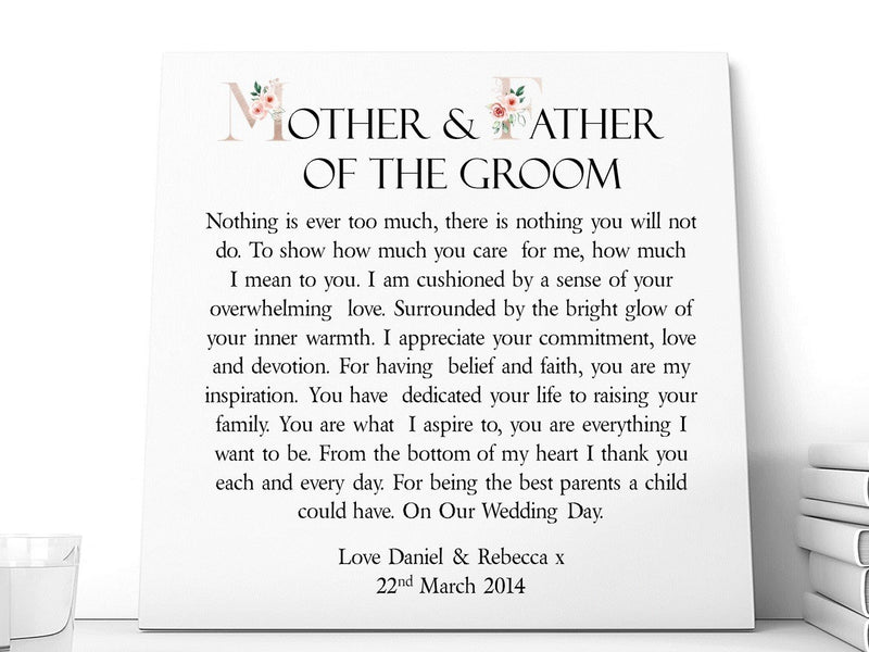 Mother & Father of The Bride * Groom Poem | Personalised Ceramic Plaque. - PureEssenceGreetings