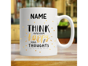 Think Happy Thoughts Personalised Get Well Soon Mug - PureEssenceGreetings