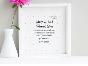 Mum & Dad Box Frame Personalised Quote - PureEssenceGreetings