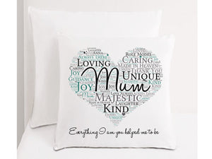 Personalised Mum Word Art Cushion - PureEssenceGreetings