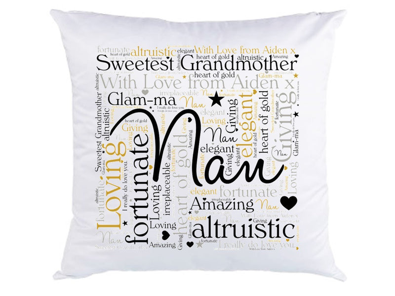 Personalised Nan Cushion. Glam-ma - PureEssenceGreetings