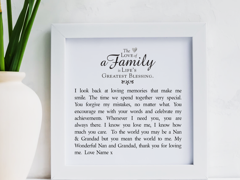 Nan & Grandad Personalised Framed Poem | Family - PureEssenceGreetings