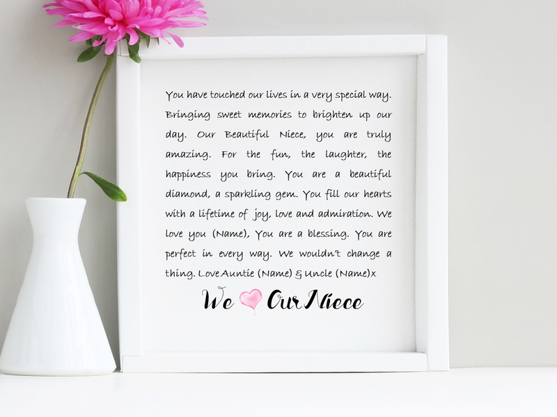 Niece Personalised Box Framed Poem
