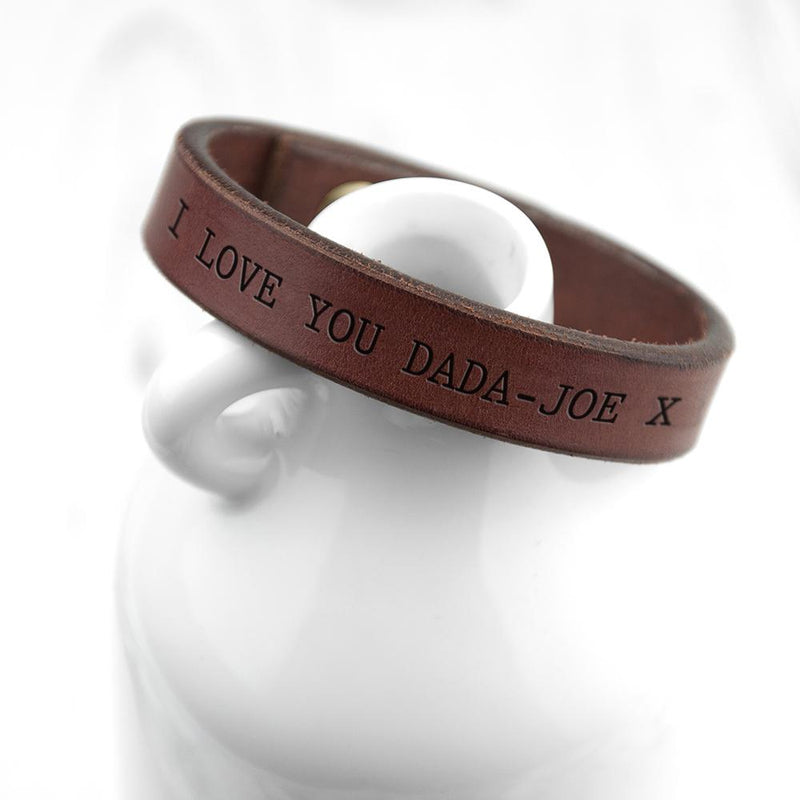 PERSONALISED MEN'S BROWN LEATHER BRACELET - PureEssenceGreetings