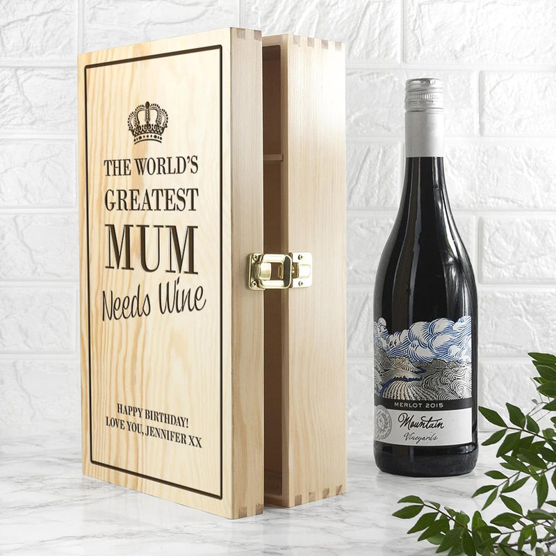 PERSONALISED WORLD'S GREATEST MUM WINE BOX - PureEssenceGreetings