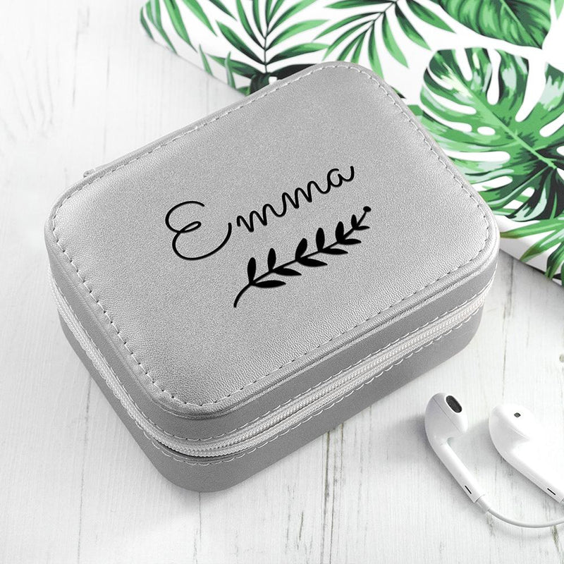 PERSONALISED WREATH SILVER TRAVEL JEWELLERY CASE