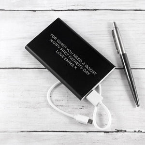 PERSONALISED ENGRAVED BLACK POWERBANK