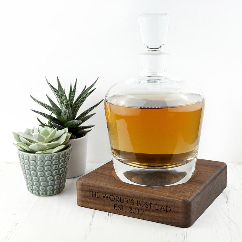 PERSONALISED LSA WHISKY DECANTER & WALNUT BASE