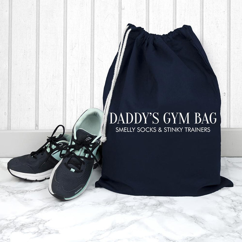 PERSONALISED COTTON NAVY GYM BAG