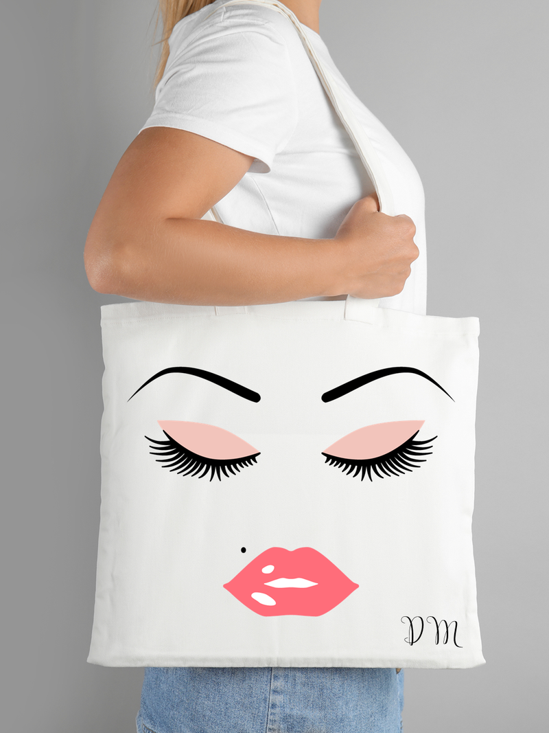 Lashes and Pink Lips Personalised Canvas Tote Bag