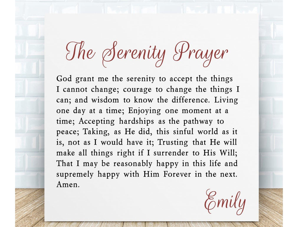 Serenity Prayer Personalised Inspirational Prayer Ceramic Plaque - PureEssenceGreetings