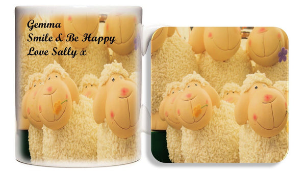 Personalised Sheep Mug | Coaster - PureEssenceGreetings