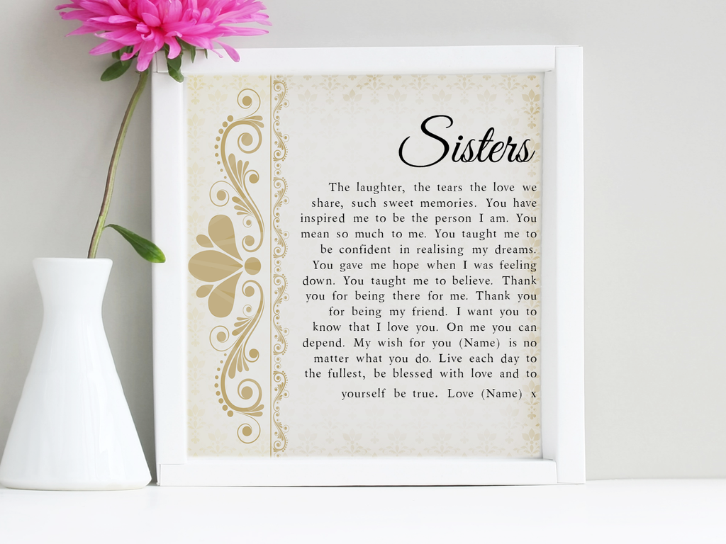 My Wish for You Sister Personalised Framed Poem - PureEssenceGreetings