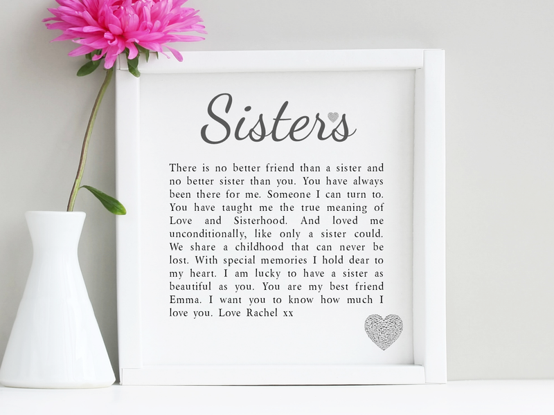 Sisters Personalised Box Frame Poem - PureEssenceGreetings