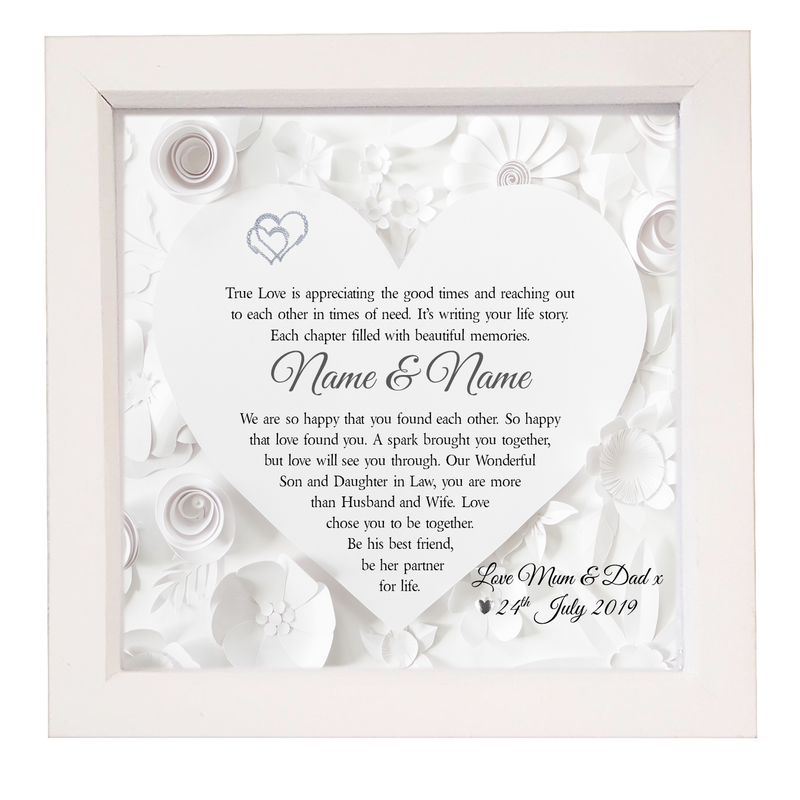 Son & Daughter in Law Box Framed Wedding Poem - PureEssenceGreetings