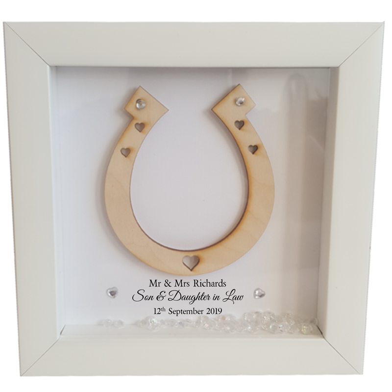 Son & Daughter in Law Framed Wedding Horse Shoe