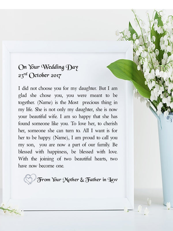 Son in Law Poem | Your Wedding Day