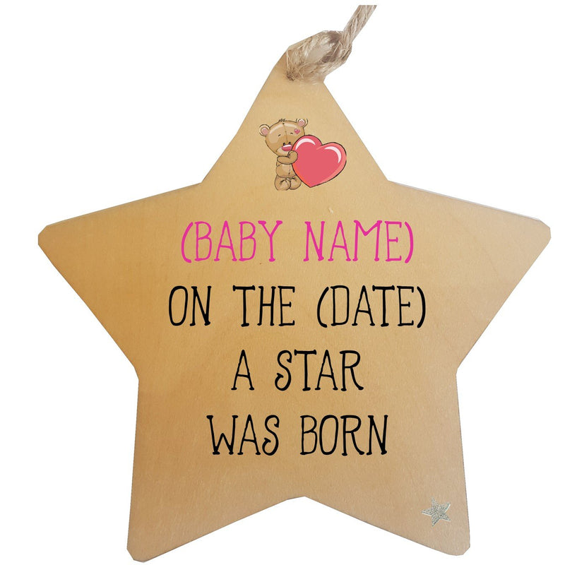 Newborn Baby Personalised Hanging Star - PureEssenceGreetings