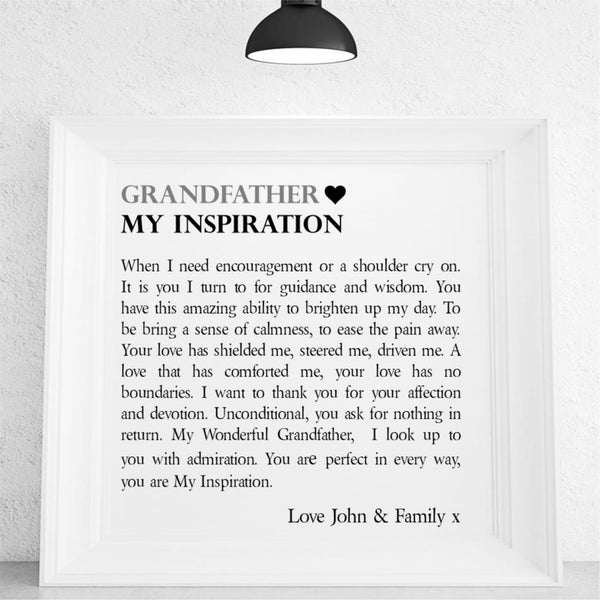 Grandad Personalised Framed Poem | Inspirational Grandad